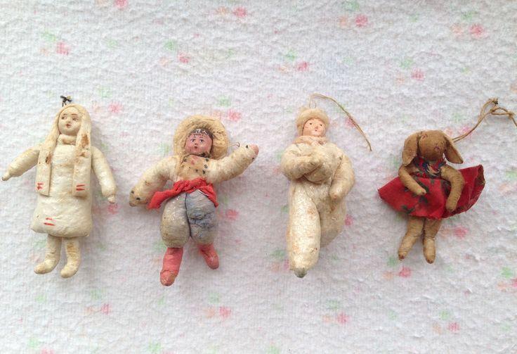 Vintage 1940-1950 Russian spun-cotton Christmas Ornaments 4 pieces