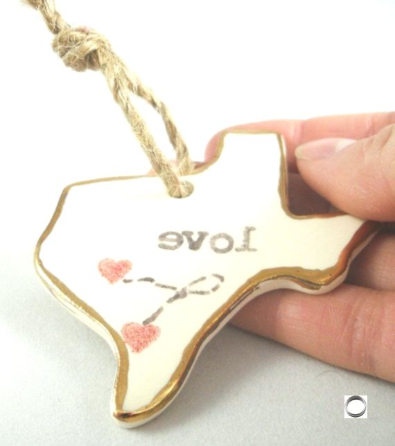 personalized texas ornament christmas gift- long distance relationship gift for girlfriend gift for boyfriend college student i love Texas,