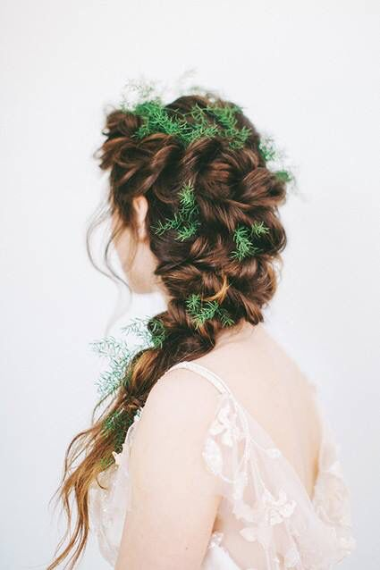 Wedding hairstyle with ferns.