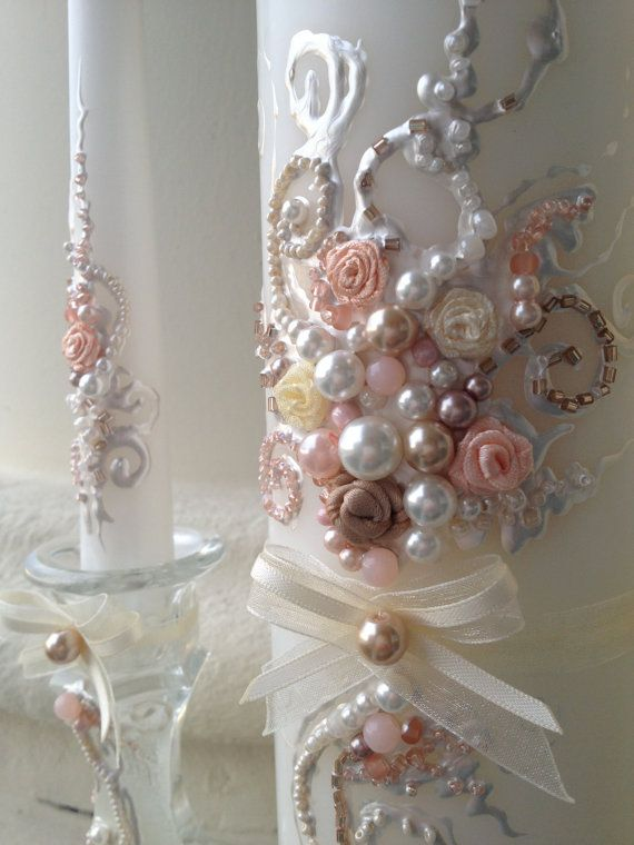 Beautiful wedding unity candle set, hand decorated with unique and elegant design using blush pink and ivory pearls and roses.