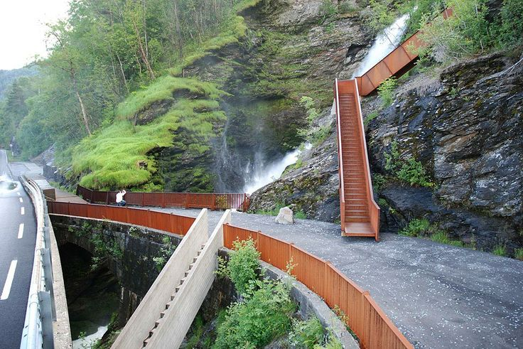 Svandalsfossen waterfall in Sauda, Norway river path with steps. Architects: Haga Grov/Helge Schelderup