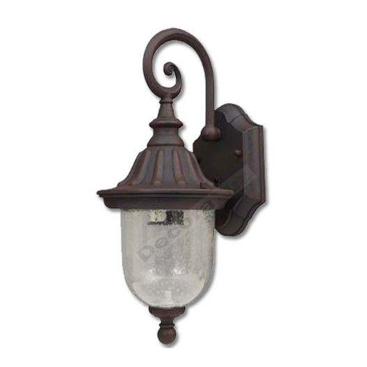 Aplique pared clásico marrón estilo farol cristal
