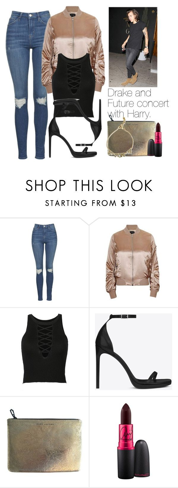 """Drake and Future concert with Harry."" by fireproofnarry ❤ liked on Polyvore featuring Topshop, Yves Saint Laurent, Marc Jacobs, MAC Cosmetics and Alexis Bittar"