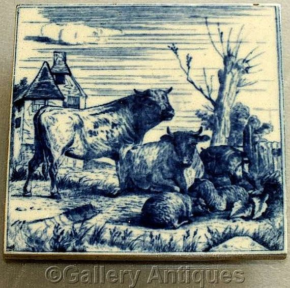 Rare Antique Victorian Minton Hollins Dark Flow Blue Cattle animals Transfer Printed Tile Designed by W P Simpson c.1880 (a) (ref: H103)