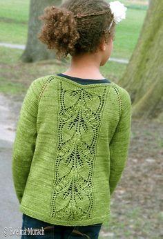 Leaf Lace Cardigan (kids) pattern by Ewelina Murach malabrigo Sock in Lettuce