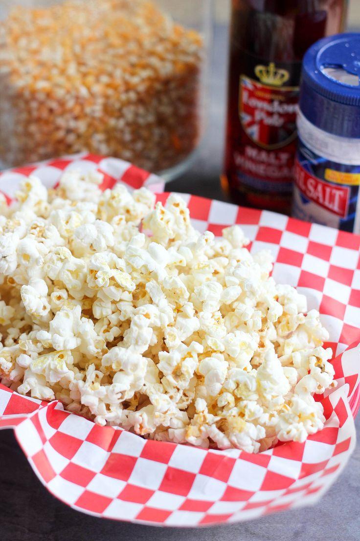 Sea salt & vinegar popcorn recipe with malt vinegar and fine sea salt.