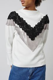 Lace Trim Sweatshirt by Boutique