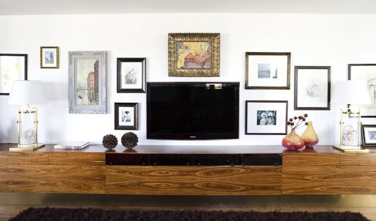 Erinn V Design Group: Fantastic vinage living room design with flatscreen tv mixed in with eclectic frames & ...