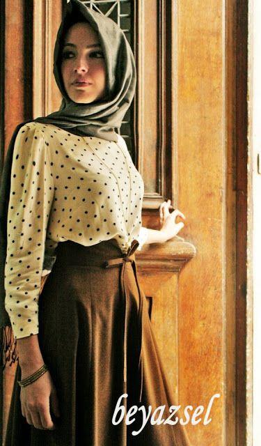 www.karacabutik.com, kloş yüksek bel etek, puanlı bluz, vintage look, karacabutik, 2013 2014 moda, 2013 trend, tesettür