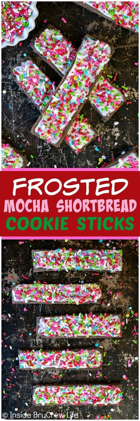Frosted Mocha Shortbread Cookie Sticks - easy cookie sticks topped with white chocolate and lots of colorful sprinkles. Great recipe for holiday cookie exchanges or Christmas parties! #cookies #holiday #christmas #intheraw #ad #cookieexchange