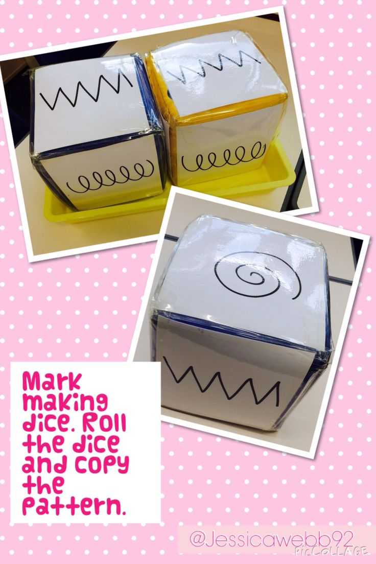 Mark making dice. Roll the dice and copy the pattern. Adapt this for writing numbers by inserting numbers, or use for games with pictures of Numicon plates.