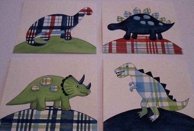 Madras dinosaur nursery wall art boy kids dino prints. $21.00, via Etsy.
