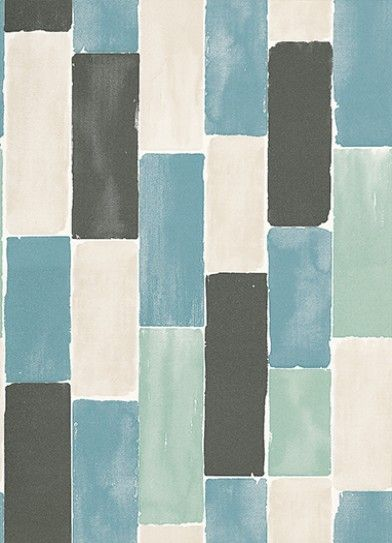 Painted Squares (TCW1009-01) - Tapet-Cafe Wallpapers - Bring the Art Deco movement back with this fabulous wallpaper. A modern and fresh take on classic patchwork and collage designs,  this geometric tile look wallpaper has a fresh, hand-painted effect. Shown here in teal, black and white. Please request a sample for a true colour match. Paste the wall product.