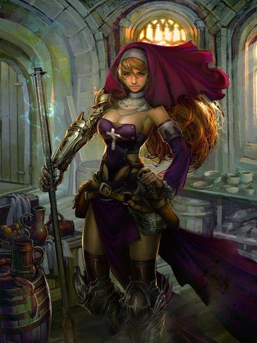 Nun Warrior   Fantasy concept art by Nognumnoy   Tumblr ...