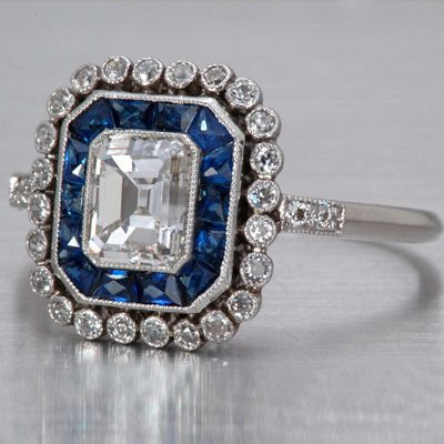 3.90ct Emerald cut Diamond Engagement Ring I-VS2 Art Deco Sapphire Halo EGL Usa certified 18kt White Gold Blueriver47 on Etsy Fine Jewelry