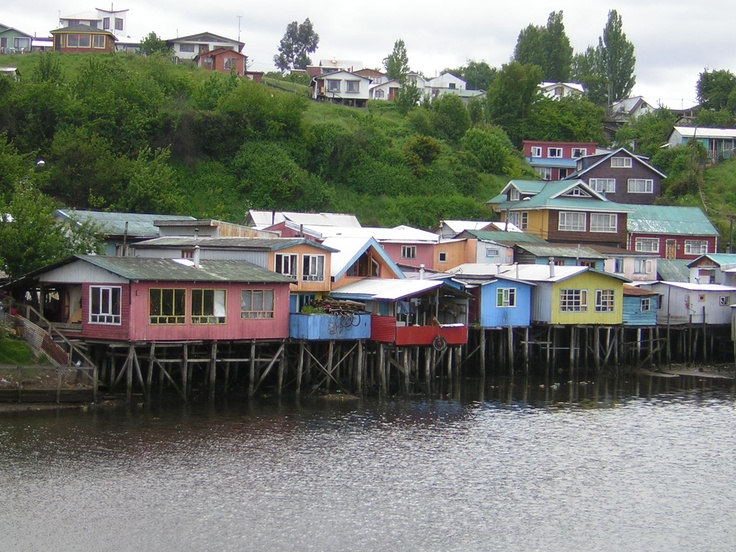 Palafitos in Chiloe, Chile.