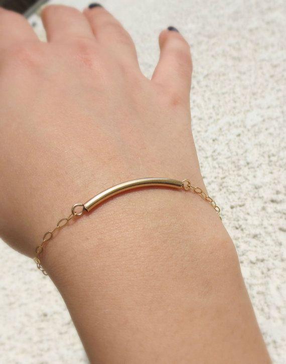 Gold Tube Bracelet, Gold Filled Curved Bar Bracelet, #jewelry #bracelet @EtsyMktgTool http://etsy.me/2wGkQu9 #goldfilljewelry
