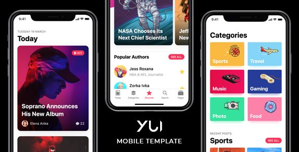 Description Yui Is A Clean And Complete Html5 Mobile Template That Will Help You Create Website Or Native Using Solutions Like Phonegap