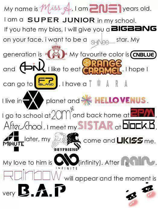 I like APink, 4Minute, 2NE1, Orange Caramel, Girls Generation, T-Ara, Miss A, and Sistar.