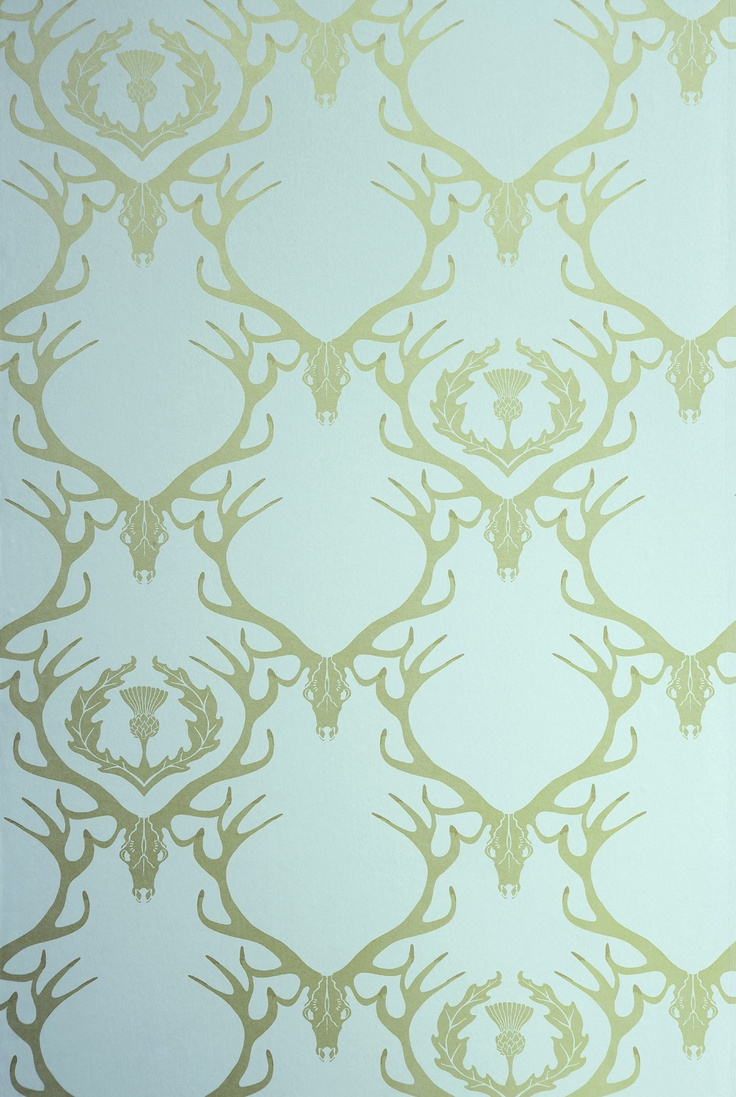 Deer Damask wallpaper, duck egg blue and antique gold - inspiration via blossomgraphicdesign.com #boutiquedesign