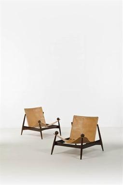 Lina Bo Bardi (1914-1992), attribué à, Paire de chauffeuses, Palissandre et cuir, Date de créatio