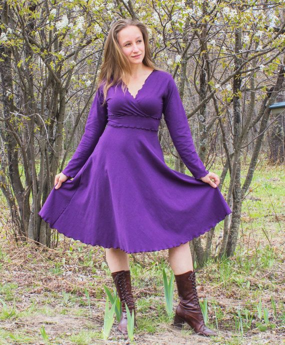 Aurora Stretch Hemp V-Neck Dress - Organic Clothing Made to Order - Choose Your Color