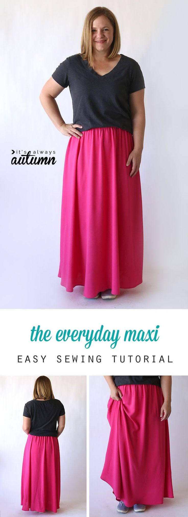 Easy sewing tutorial for a women's maxi skirt made from woven (not knit) fabric. How to sew a maxi skirt.