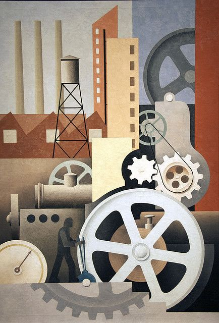 Machinery (Abstract #2) by Paul Kelpe ~ What kind of industry does the man holding the levers control in Paul Kelpe's painting Machinery. There are no hints; the smokestacks emit no smoke and no product piles up on the factory floor. In fact, Kelpe's mechanism manufactures nothing.