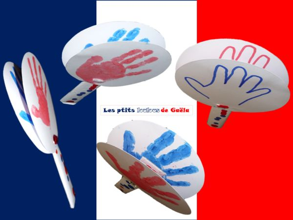 Bricolage enfants pour la coupe du monde de football. Des claps-claps pour supporter de l'équipe de France !!!!!