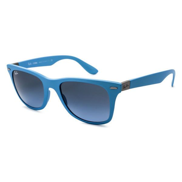 Ray-Ban RB4195F Wayfarer Liteforce Asian Fit 60848F Sunglasses ($184) ❤ liked on Polyvore featuring accessories, eyewear, sunglasses, blue, blue glasses, wayfarer style sunglasses, ray-ban wayfarer, ray ban sunnies and metallic glasses