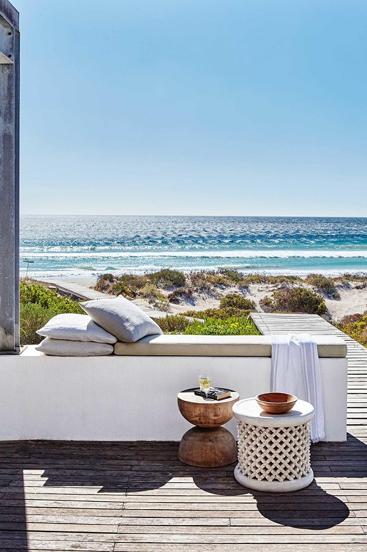 outdoor bench seating with gorgeous ocean view // Cape Town Coastal