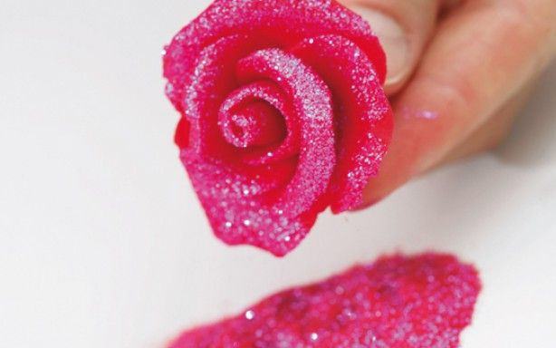 How to make marzipan roses...roll in sanding sugar