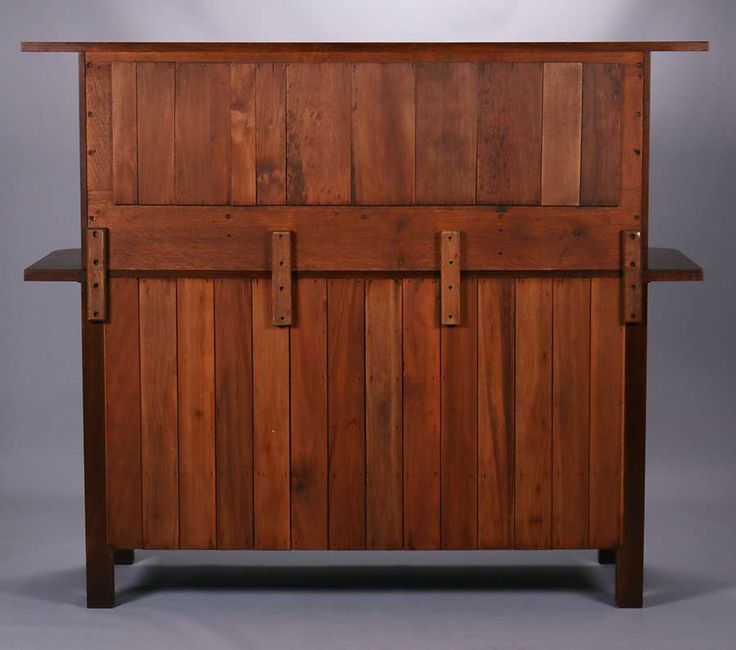 Lot 358.Early L&JG Stickley Onondaga period strap-hinge sideboard with gallery mirror. Unsigned. Very nicely refinished. 72″w x 60.75″h x 24.75″d. SOLD