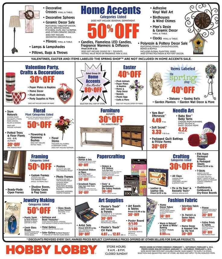 Hobby Lobby Weekly Ad January 31 - February 6, 2016 - http://www.olcatalog.com/grocery/hobby-lobby-weekly-ad.html