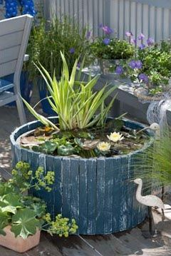 Container water garden featuring Iris, water lilies and more. I like the recycled wood planks. You could make this from a cheap plastic planter since you won't see it on the outside. See more great ideas @ ContainerWaterGardens.net