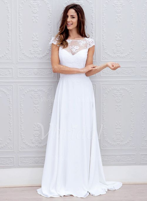 A-Line/Princess Scoop Neck Sweep Train Bow(s) Chiffon Lace Covered Button Sleeves Short Sleeves Hall Garden / Outdoor Reception General Spring Fall White White Wedding Dress