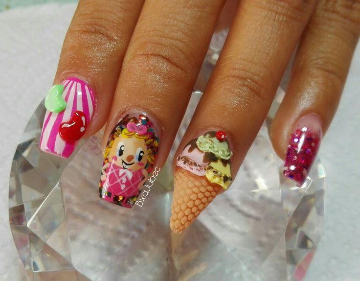 Uñas candy crush Uñas deliciosas Uñas con  Uñas de postre Cono de helado
