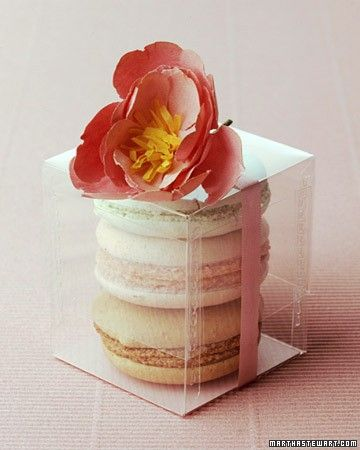 Sometimes, hostess gifts are about presentation.  This clear box with the ribbon and flower is so lovely!  It's really just 3 cookies! Find the perfect size at http://www.clearbags.com/box/food/dim