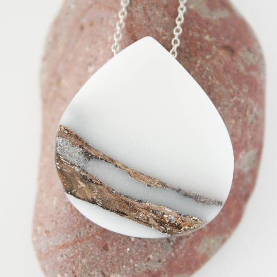 White Teardrop Wood and Resin Pendant Resin Wood Necklace
