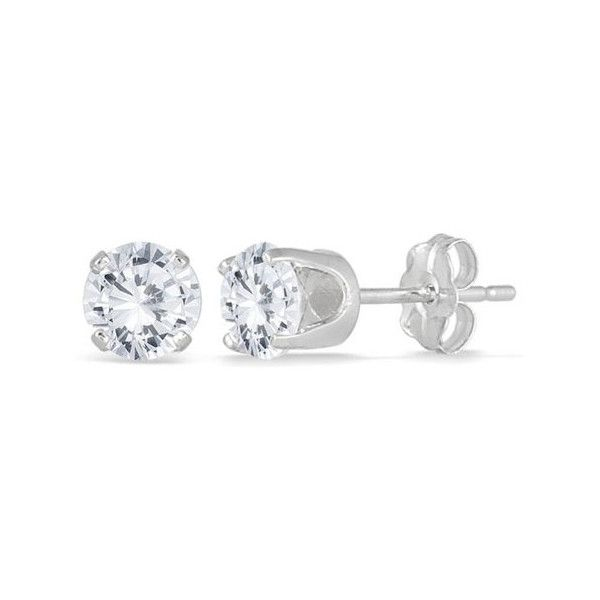 1 Carat Total Round Diamond Stud Earrings, 14K White Gold ($1,995) ❤ liked on Polyvore featuring jewelry, earrings, white gold jewellery, stud earrings, white gold stud earrings, round stud earrings and white gold diamond earrings