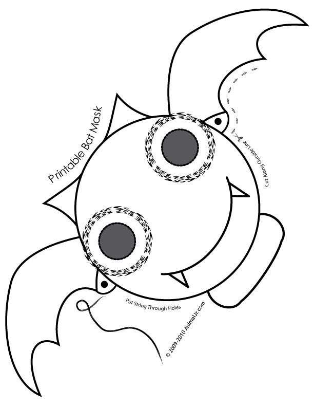 Cute Printable Halloween Animal Paper Masks bat-mask-coloring-page