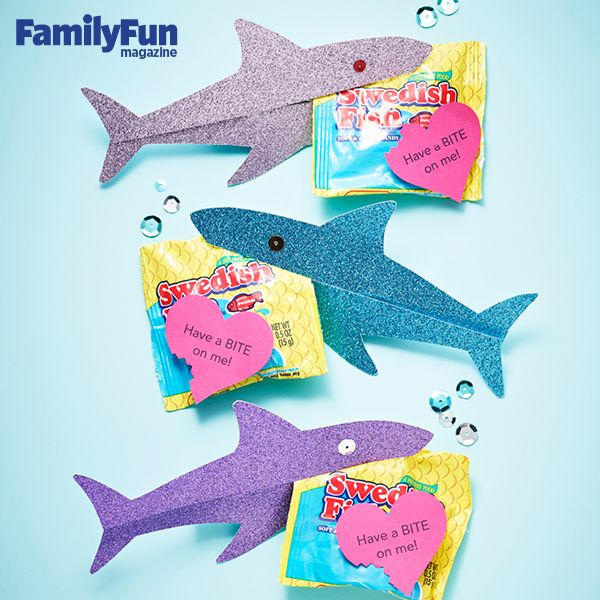 """Shark Valentine's Cards -- """"Have a BITE on me!"""" using Swedish Fish and Paper Sharks"""