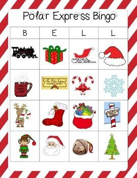 This is for 10 different Polar Express themed Bingo cards and teacher calling pieces plus calling board.I have included 2 different ways to play this game. One set of 10 cards has headings for a harder game of Bingo. The other set does not have headings and you simply cover your four no matter where they are.