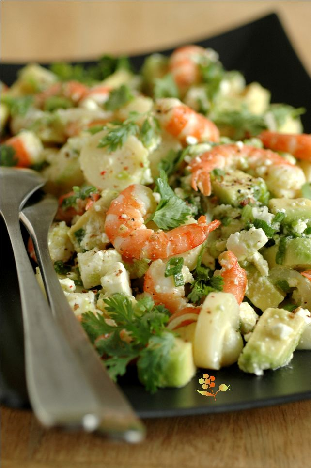 Salade crevettes, coeur de palmier, avocat