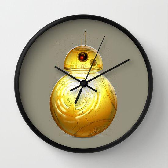 BB8 3CPO Wall Clock wall clock, clock, crystal, hook, hanging, shoplovet, accessory, society6