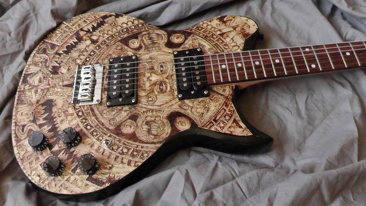 Maya calendar electric guitar made by Psujek Arts