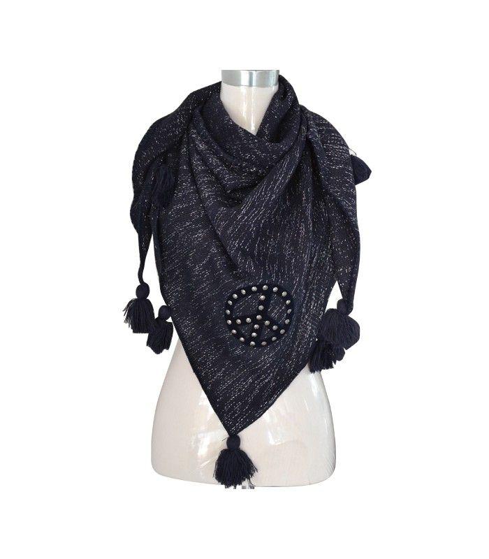 Blauwe sjaal met peace teken en pommetjes. Sjaal met zilverdraad, franjes en peace teken met strass stenen | Ruime keuze snelle verzending