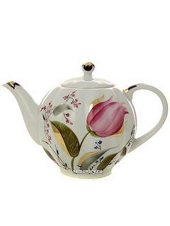 """Чайник заварочный форма """"Тюльпан"""", рисунок """"Розовые тюльпаны"""", Императорский фарфоровый завод купите по низкой цене"""