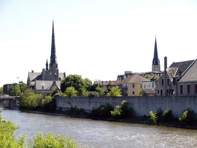 view of the Grand River downtown (Galt)