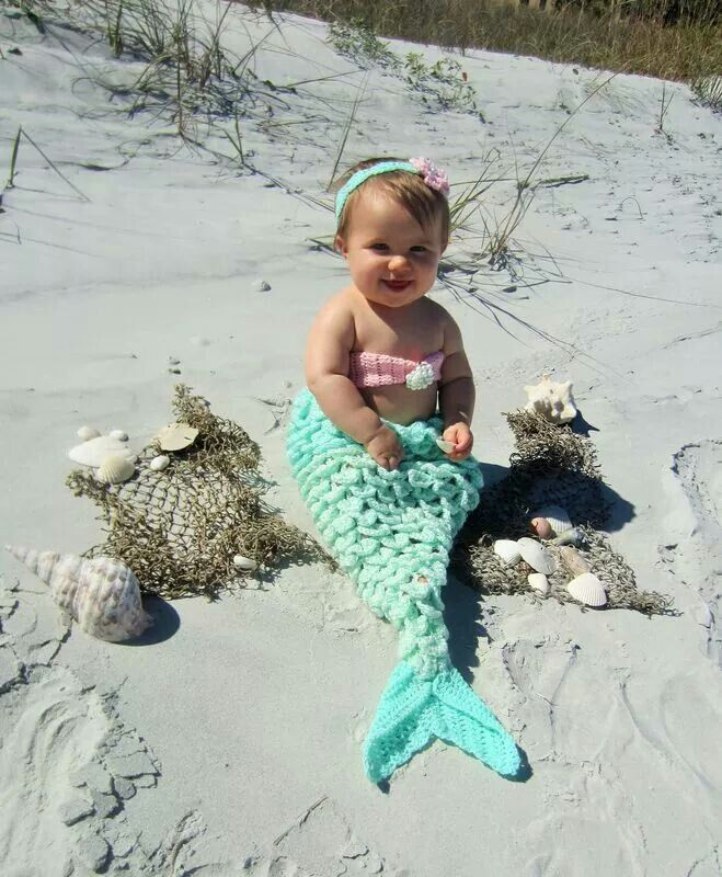 Adorable crocheted mermaid costume